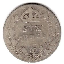 1898 6d Silver SIXPENCE six pence Queen Victoria - Old Head (b)