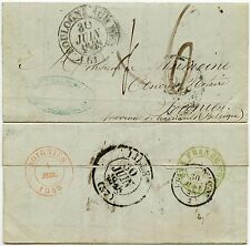 FRANCE 1848 to BELGIUM SOIGNIES TPO BOULOGNE + TRANSIT PAR MOUSCRON in GREEN