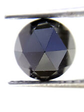 1.38 Cts 6.5 MM Round Rose cut Jet Black AAA Color African Natural Loose Diamond