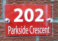 MODERN HOUSE SIGN / PLAQUE - QUALITY ACRYLIC + RED ALUMINIUM BACKPLATE