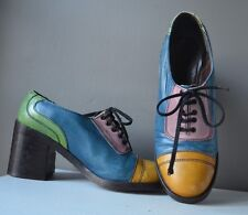 VINTAGE 70's MULTI COLORED GENUINE LEATHER LACED FRONT PLATFORM HEELS Sz 7