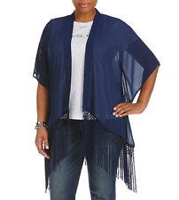 Michael Kors Prussian Blue Fringe-Trim Georgette Kimono Cardigan Wrap Size 2X