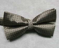 "NEW LUXURY BOW TIE MENS BOWTIE POLKA DOT SQUARES GOLDEN BROWN 14"" - 21.5"""