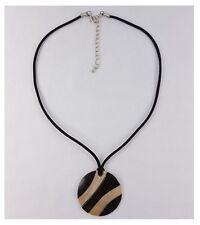 Halskette Lederkette schwarz mit Muschel-Anhänger Zebra-Look Muschelkette
