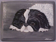 JAPANESE CHIN DOG WALL HANGING / PLAQUE NEW HAND-PAINTED SIGNED