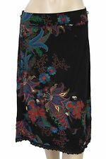 127555 New Desigual Floral Printed Lace Black Skirt Small S