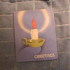 Vintage Christmas Card, U.S.A., White Candle, Green Holder - Red Flame, 1930's