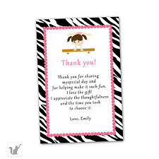 30 Thank You Cards Customized W/ Your Details Artistic Gym Gymastic Birthday