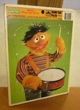 ERNIE Plays the Drums frame puzzle Sesame Street 1986 beat-up tray