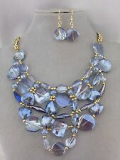 Blue Glass Crystal Bib Necklace Earrings Set Fashion Jewelry NEW Statement