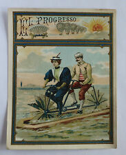 "Antique EL PROGRESSO ""Tandem Water-Bicycle"" Cigar Label"