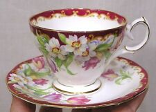 Vintage Cup & Saucer Narcissus Pattern Queen Anne Bone China England