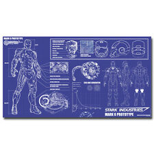 Iron Man Stark Industries Blueprint - Movie Art Silk Poster 24x44""