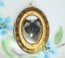 #1474E Vintage Siamese Cat Locket Ornate Oval Large Etched Brown OLD Pendant