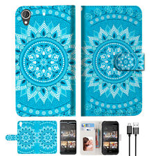 BLUE AZTEC TRIBAL Wallet TPU Case Cover For HTC Desire 628-- A001
