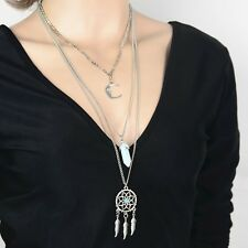 Boho Ethnic Crescent Moon Stone Elegant Dream Catcher Pendant Long Necklace