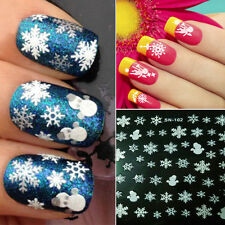 2Pcs Christmas Snowman lovely Snowflakes 3D Nail Art Sticker Decal Decorations