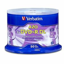 50 Verbatim DVD+R DL AZO 8.5GB 8x-10x Branded Double Layer Recordable Disc 97000