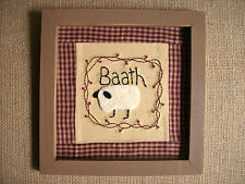 """Country Primitive """"Bath"""" Sampler Stichery Sign with Sheep and the Words BAATH"""