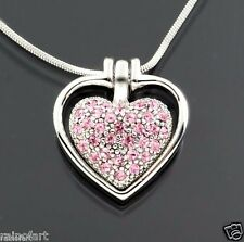 Heart In Heart W Swarovski Crystal Love New Pendant Necklace Pink Jewelry Gift