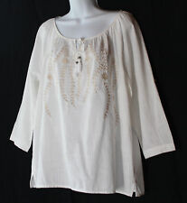 J.JILL Art-to-Wear White Lightweight Cotton Floral Embroi Peasant Top Blouse PM