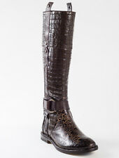 New Mono Croc Embossed Brown Leather Boots Size 37 US 7