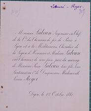 Faire-Part Mariage Royer Labouré Chemins de Fer 1881 Dijon Côte d'Or 1881