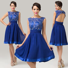SIZE 16 Blue Short LACE Bridesmaid Dress Formal Prom Evening Gown Cocktail Party