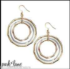 Bamboo Necklace +Earrings by Park Lane Trio of bamboo rings white gold Brand New