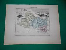 BOUCHES DU RHONE CARTE ATLAS MIGEON Edition 1885, Carte + fiche descriptive