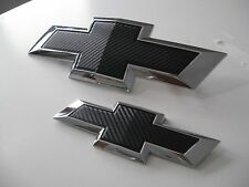 2015 16 17 Chevy Tahoe Suburban Black Carbon Fiber Bowtie Emblem Pair SET LOT 2