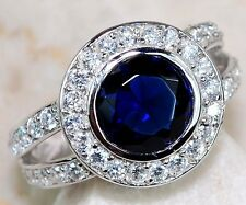 2CT Blue Sapphire & White Topaz 925 Solid Sterling Silver Ring Sz 8