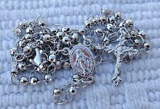 Silver rosary 925 sterling silver with Miraculous medal center 14.5'' + BAG