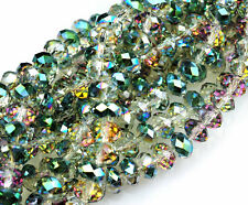 36 Sahara Green Faceted Crystal Rondelle Beads 8MM
