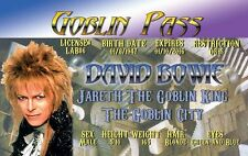 David Bowie ID Card Drivers License Goblin King Labyrinth costume cosplay badge