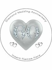 """Personalised 60th Diamond Anniversary 7.5"""" Edible Wafer Paper Cake Topper"""
