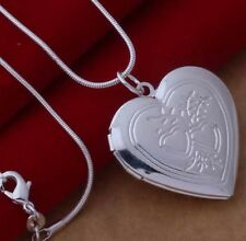 925 Sterling Silver Heart LOCKET Pendant Necklace Vintage Style Women JEWELERY