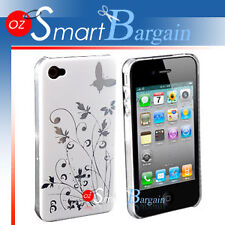 New WHITE Butterfly Hard Cover Case For iPhone 4G 4GS + Screen Protector