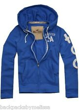 HOLLISTER Blue Zip-UP Hoodie Jacket Men's Medium NeW Applique Embroidery NWT