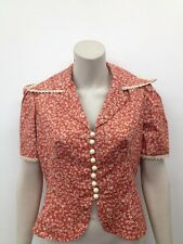 Vintage Dorothy Perkins Orange Button Lace 1970s Wing Collar Blouse UK M (W299)