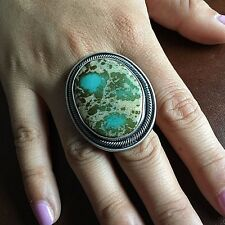 Huge Royston Turquoise Sterling Silver Ring Handmade Signed Ernest Begay Size 7