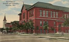 Sacred Heart Schools and Cathedral in Superior WI Postcard
