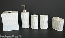 NEW 5PC SET WHITE PORCELAIN SOAP DISPENSER,TOOTHBRUSH,TUMBLER,JAR+LID,TISSUE BOX