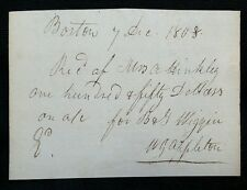 1808 WILLIAM APPLETON House of Reps Boston Mass Merchant Signed auto 1800s Rare