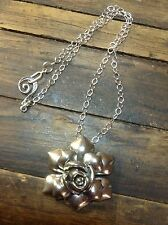 Rhodium Chain Rose Large Flower Pewter Pendant necklace