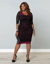 LADIES WOMAN'S PLUS SIZE 3/4 SLEEVE BLACK/BURGUNDY XMAS PARTY DRESS FIT 16 18 20