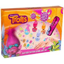 GIRLS PINK TROLLS GLITTER TATTOO & NAIL ART SET GIRLS FUN FASHION TOY R07 0008