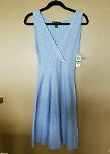 NWT=INC light blue, cross-front, Ribbed/Stretch knit Dress Large $99