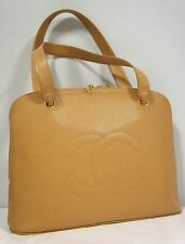 CHANEL Beige Caviar Skin Leather Rounded Zipper Closure Large Shopper Tote Bag