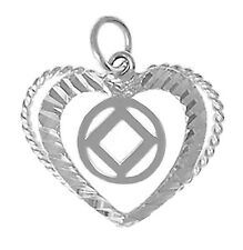 Narcotics Anonymous #545 ,Sterling Silver,Heart Pendant with NA Symbol, Med Size